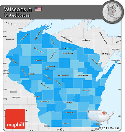 Free Political Shades Simple Map Of Wisconsin Single Color Outside