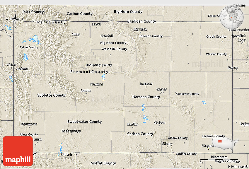 Shaded Relief 3D Map Of Wyoming