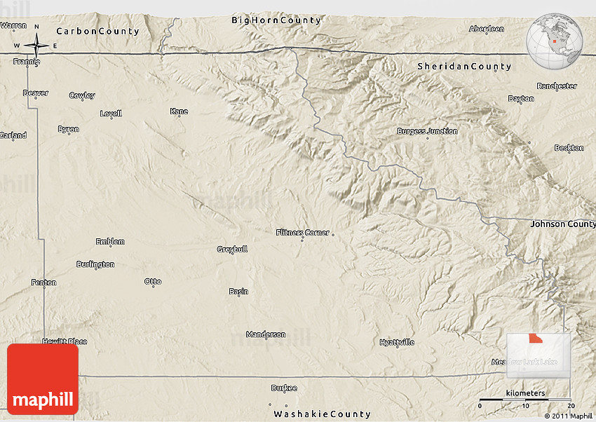 Shaded Relief 3D Map Of Big Horn County
