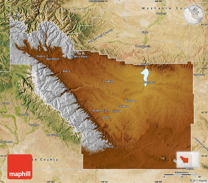 Physical Map Of Fremont County Satellite Outside