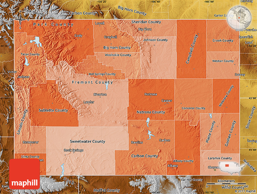 Political Shades Map Of Wyoming Physical Outside
