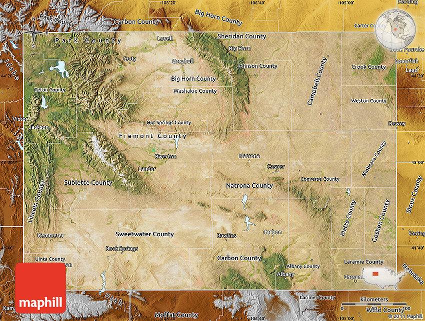 Satellite Map Of Wyoming Physical Outside