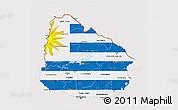 Flag 3D Map of Uruguay, flag centered