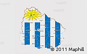 Flag 3D Map of Uruguay, flag rotated