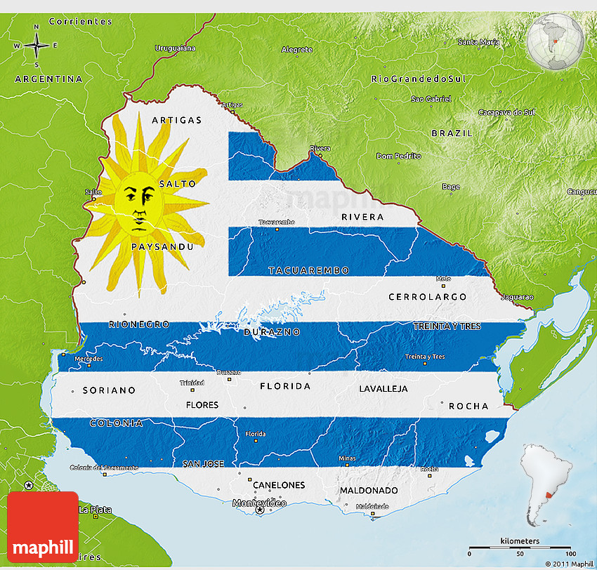 Flag 3D Map of Uruguay physical outside