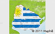 Flag 3D Map of Uruguay, physical outside