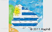 Flag 3D Map of Uruguay, political outside