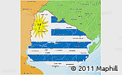 Flag 3D Map of Uruguay, political shades outside