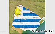 Flag 3D Map of Uruguay, satellite outside