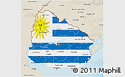 Flag 3D Map of Uruguay, shaded relief outside