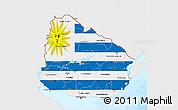 Flag 3D Map of Uruguay, single color outside, bathymetry sea