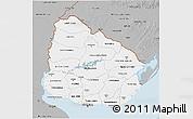 Gray 3D Map of Uruguay
