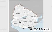 Gray 3D Map of Uruguay, single color outside