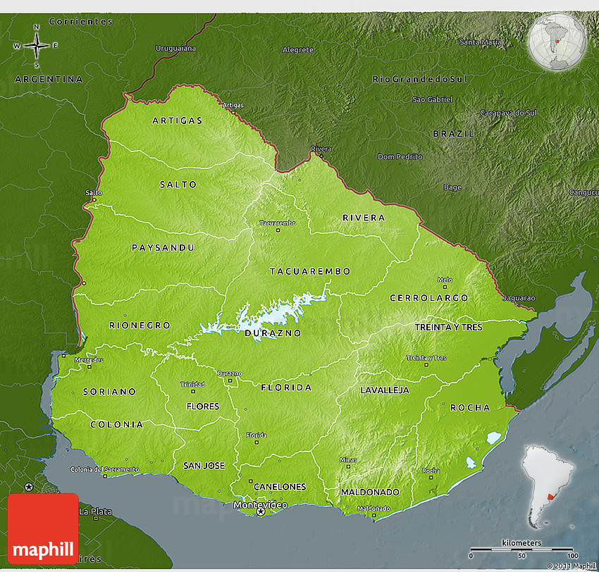 Physical D Map Of Uruguay Darken - Map of uruguay