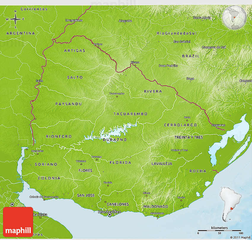 Physical D Map Of Uruguay - Map of uruguay