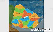 Political 3D Map of Uruguay, darken