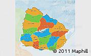 Political 3D Map of Uruguay, lighten