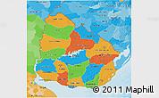 Political 3D Map of Uruguay