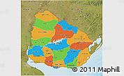 Political 3D Map of Uruguay, satellite outside, bathymetry sea