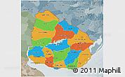 Political 3D Map of Uruguay, semi-desaturated