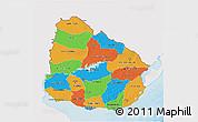 Political 3D Map of Uruguay, single color outside