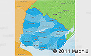 Political Shades 3D Map of Uruguay