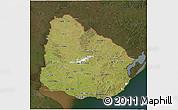 Satellite 3D Map of Uruguay, darken
