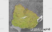 Satellite 3D Map of Uruguay, desaturated