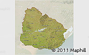 Satellite 3D Map of Uruguay, lighten