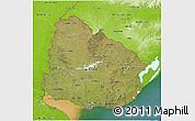 Satellite 3D Map of Uruguay, physical outside, satellite sea