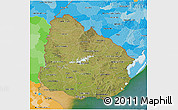 Satellite 3D Map of Uruguay, political outside, satellite sea