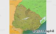 Satellite 3D Map of Uruguay, political shades outside, satellite sea
