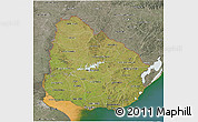 Satellite 3D Map of Uruguay, semi-desaturated, land only