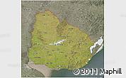 Satellite 3D Map of Uruguay, semi-desaturated