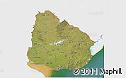 Satellite 3D Map of Uruguay, single color outside