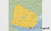 Savanna Style 3D Map of Uruguay