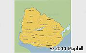 Savanna Style 3D Map of Uruguay, single color outside