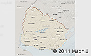 Shaded Relief 3D Map of Uruguay, semi-desaturated