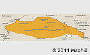 Political Panoramic Map of ARTIGAS, shaded relief outside