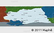 Political Panoramic Map of CANELONES, darken