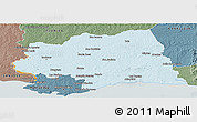 Political Panoramic Map of CANELONES, semi-desaturated