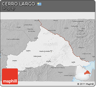 Gray 3D Map of CERRO LARGO
