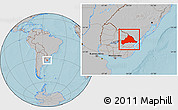 Gray Location Map of CERRO LARGO, hill shading