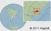 Savanna Style Location Map of CERRO LARGO, hill shading