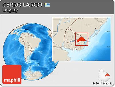 Shaded Relief Location Map of CERRO LARGO