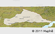 Shaded Relief Panoramic Map of CERRO LARGO, satellite outside