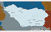 Political 3D Map of COLONIA, darken