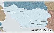 Political 3D Map of COLONIA, semi-desaturated