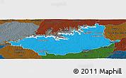 Political Panoramic Map of DURAZNO, darken