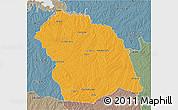 Political 3D Map of FLORES, semi-desaturated